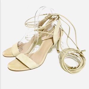 Aldo Tie-Up Suede Beige Sandals Size 8